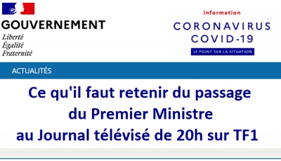 Virus Covid-19 : Interview du Premier Ministre au Journal télévisé de 20h