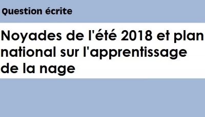 Question écrite : Noyades de l'été 2018 et plan national sur l'apprentissage de la nage